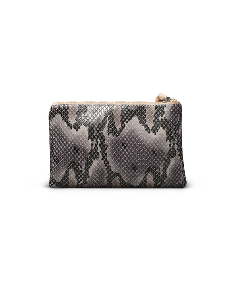 Margot Slim Wallet in snake print by Consuela, back view