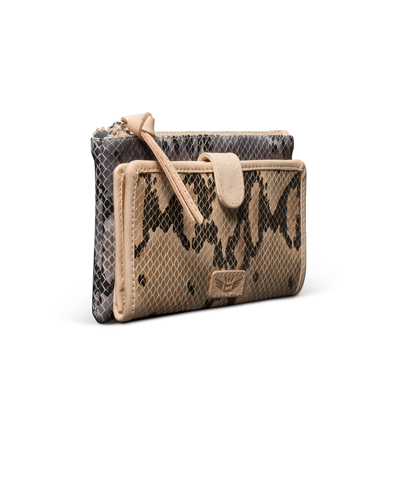 Margot Slim Wallet in snake print by Consuela, side view