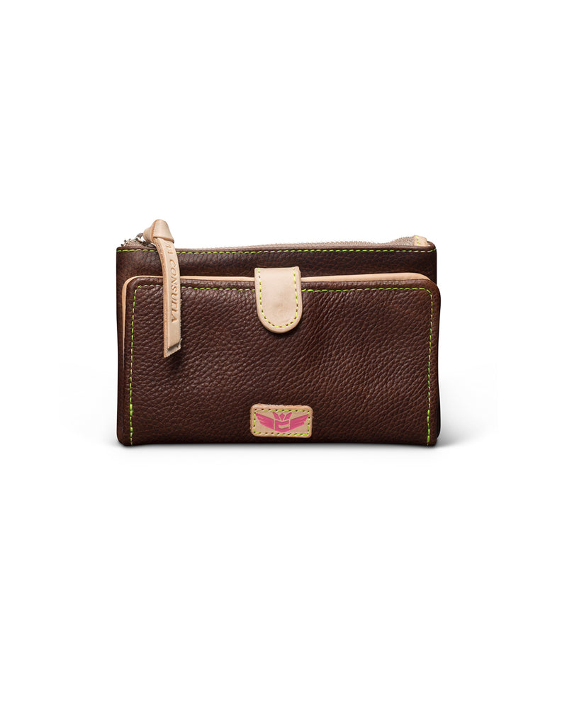 Magdalena Slim Wallet in brown leather by Consuela, front view