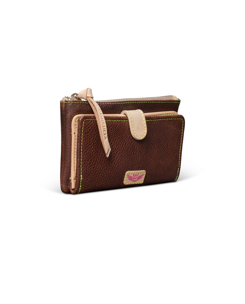 Magdalena Slim Wallet in brown leather by Consuela, side view