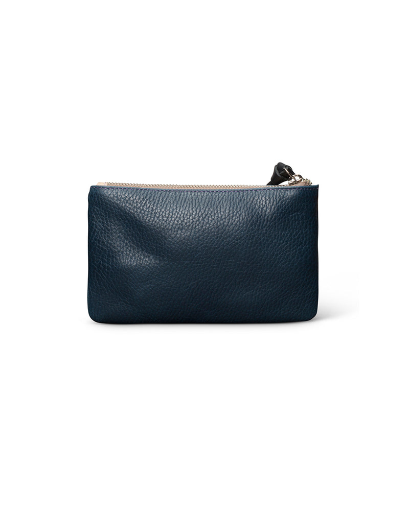 Adelita Slim Wallet in navy leather by Consuela, back view