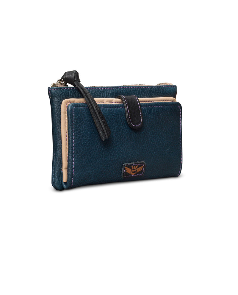 Adelita Slim Wallet in navy leather by Consuela, side view