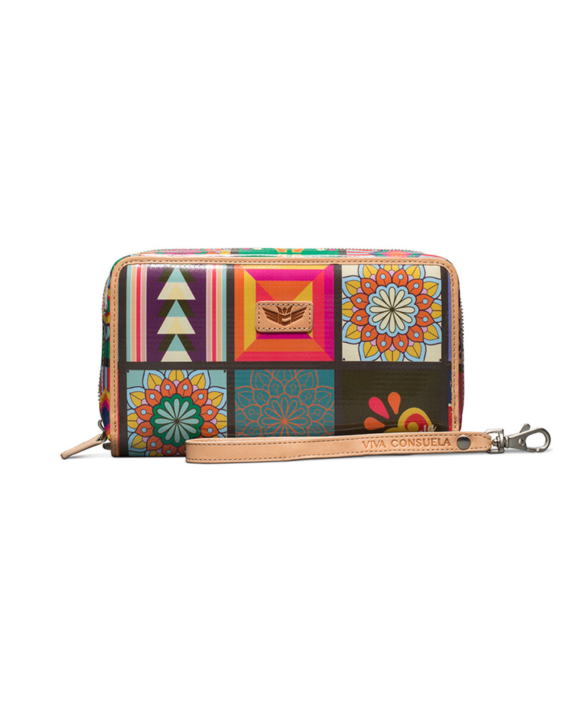 Allie Wristlet Wallet in ConsuelaCloth™ by Consuela, front view 2