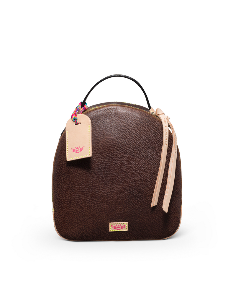 Magdalena City Pack in brown pebbled leather by Consuela, front view