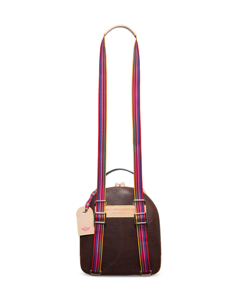 Magdalena City Pack in brown pebbled leather by Consuela, rear view with crossbody strap