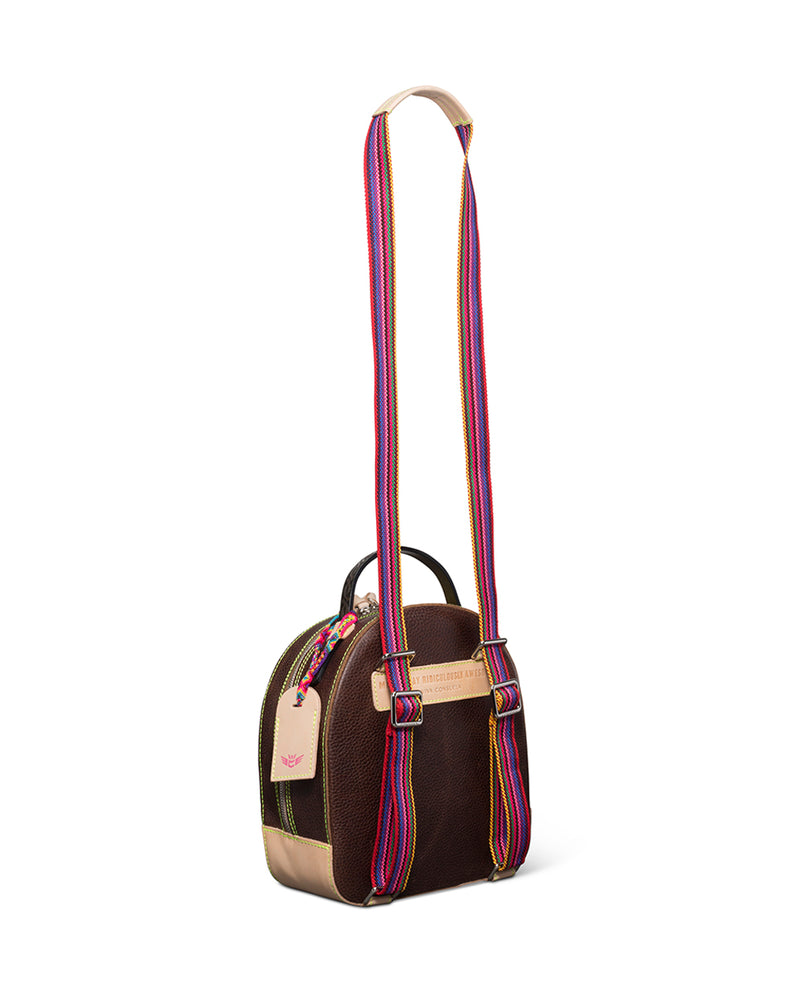 Magdalena City Pack in brown pebbled leather by Consuela, side view with a crossbody strap