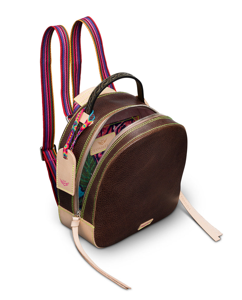 Magdalena City Pack in brown pebbled leather by Consuela, interior view as a backpack