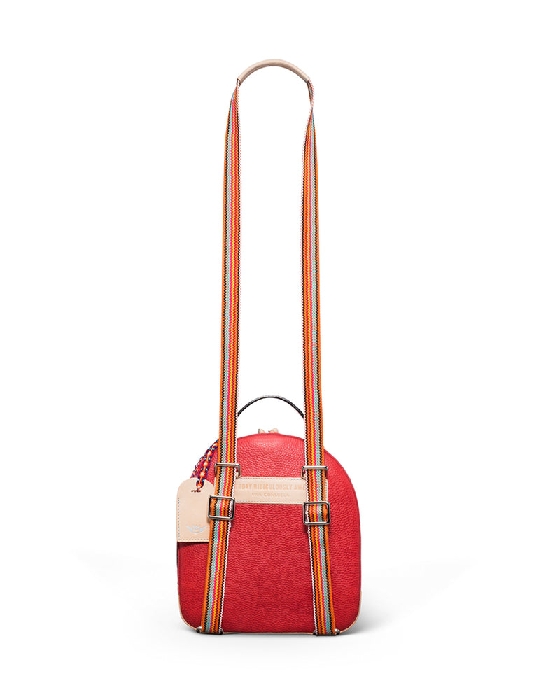 Valentina City Pack in red pebbled leather by Consuela, back view with crossbody strap