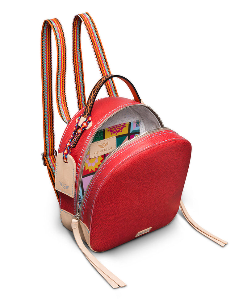 Valentina City Pack in red pebbled leather by Consuela, interior view as a backpack