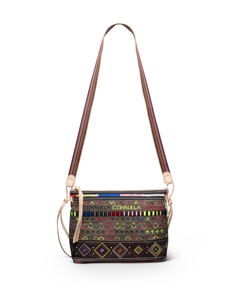 Ryan Downtown Crossbody in waxed canvas with colorful embroidery by Consuela, front 2