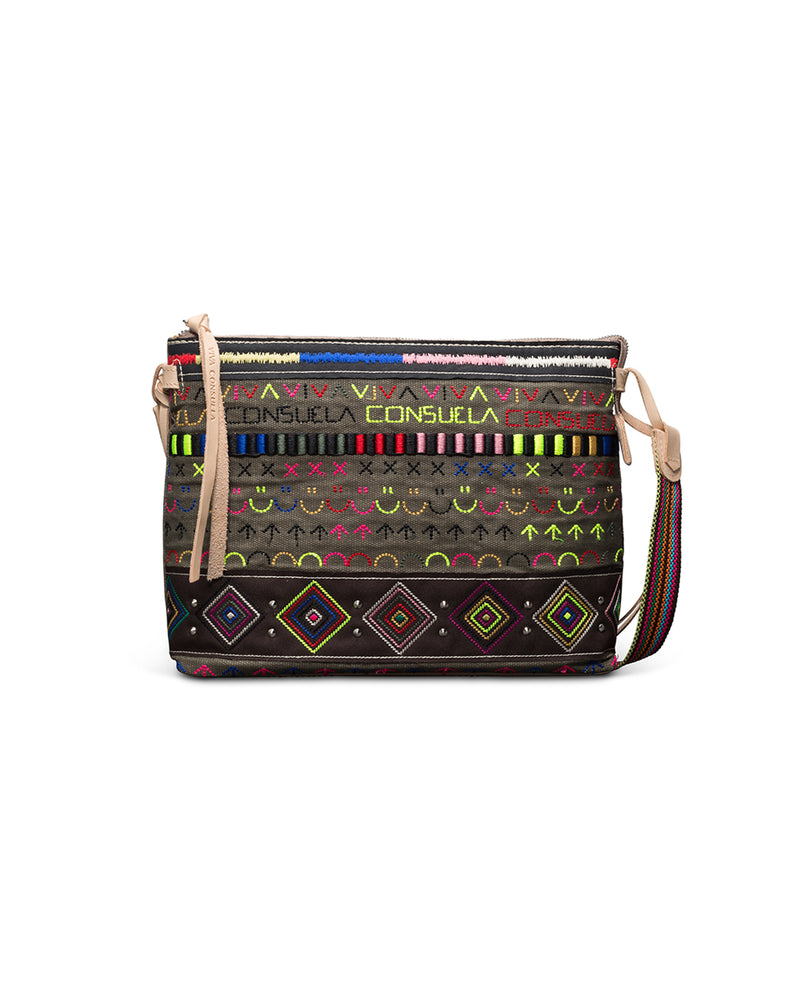 Ryan Downtown Crossbody in waxed canvas with colorful embroidery by Consuela, front