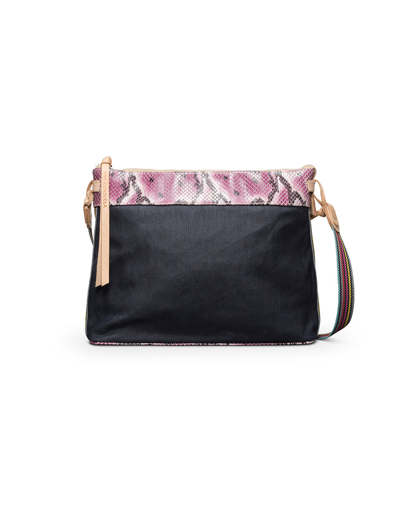 Aurora Downtown Crossbody in slate grey waxed canvas with snake print trim by Consuela, front