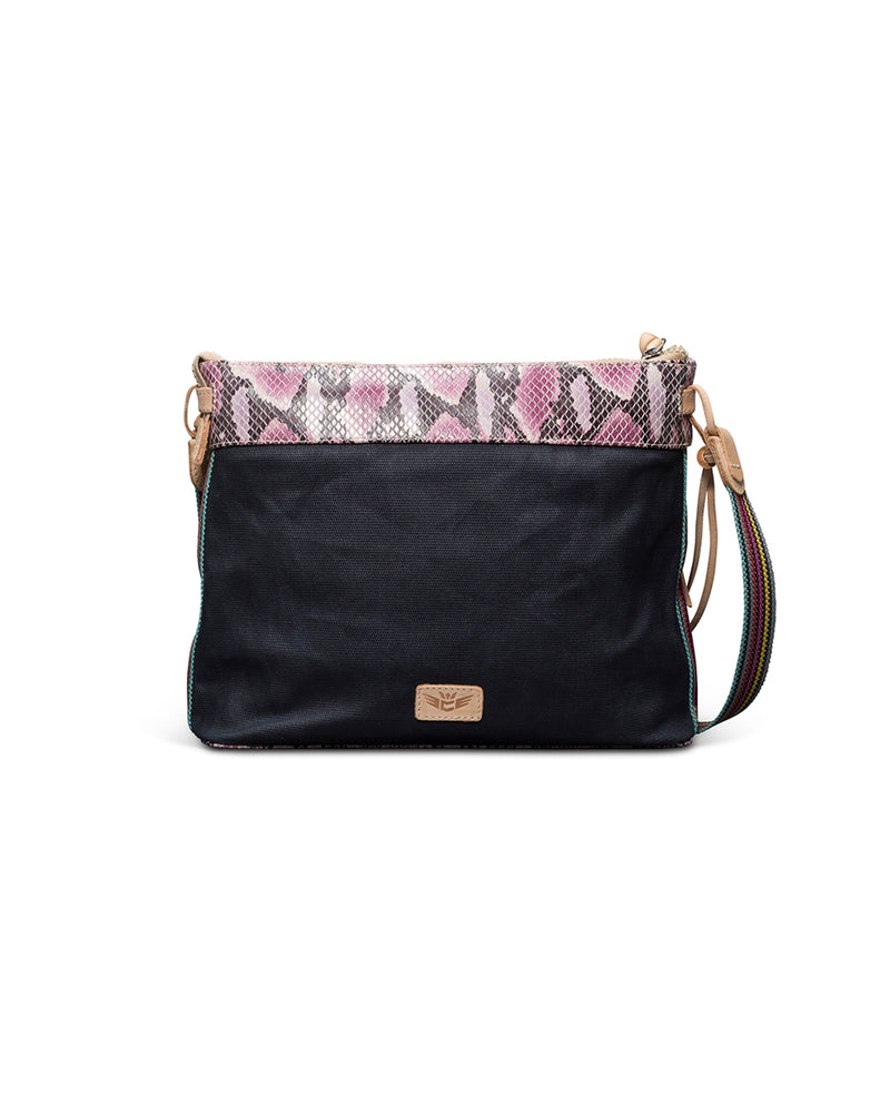 Aurora Downtown Crossbody in slate grey waxed canvas with snake print trim by Consuela, back