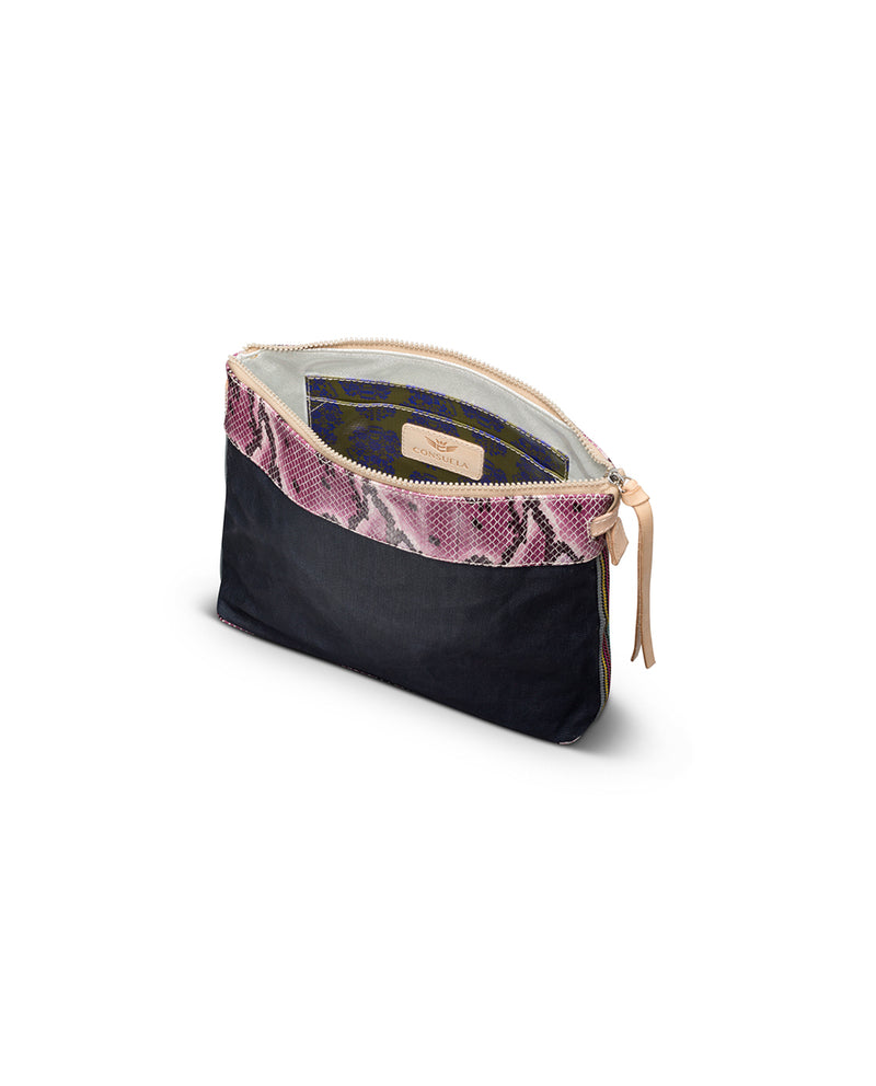 Aurora Downtown Crossbody in slate grey waxed canvas with snake print trim by Consuela, interior