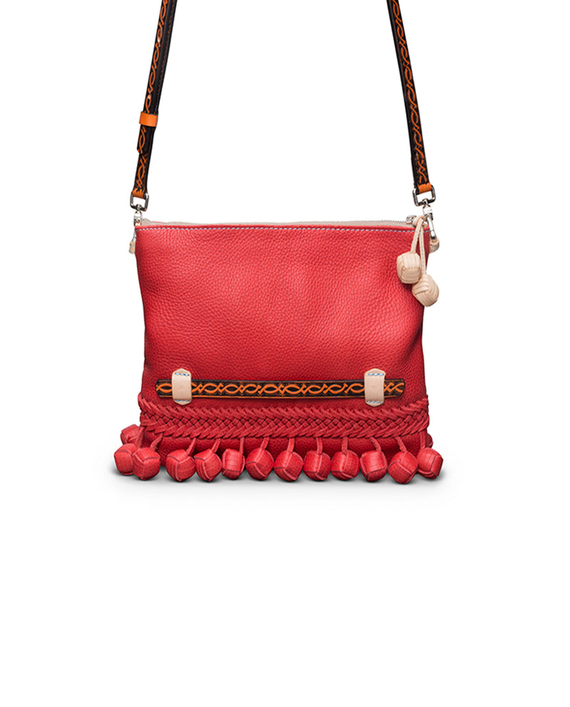 Valentina Fiesta Crossbody in red pebbled leather by Consuela, front view