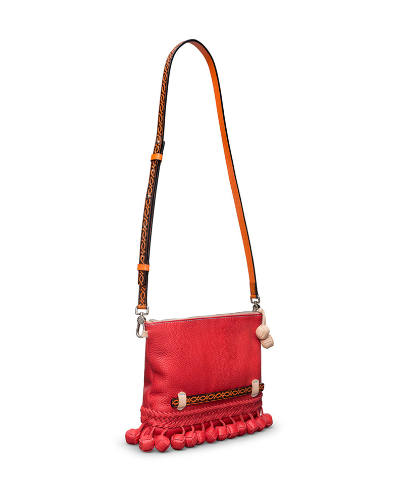 Valentina Fiesta Crossbody in red pebbled leather by Consuela, side view