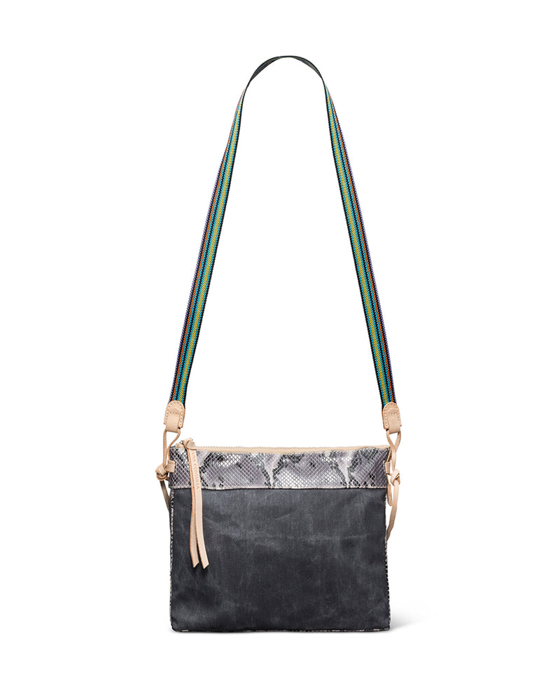 Flynn Downtown Crossbody in grey waxed canvas with snake accent by Consuela, with crossbody strap