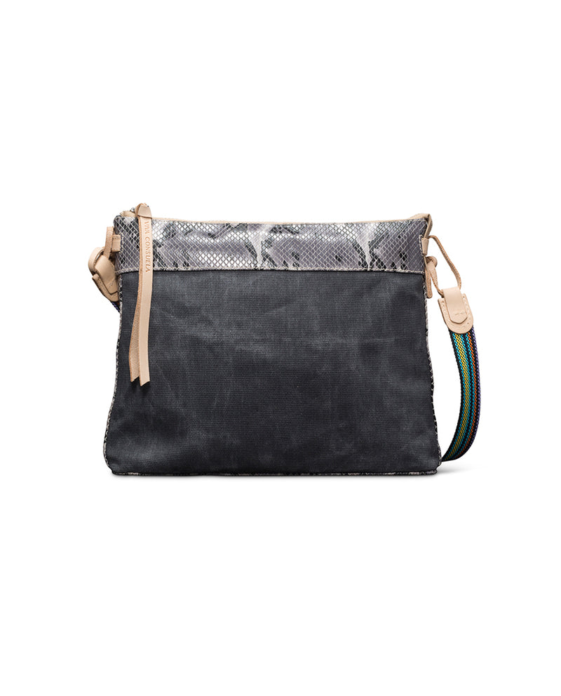 Flynn Downtown Crossbody in grey waxed canvas with snake accent by Consuela, front