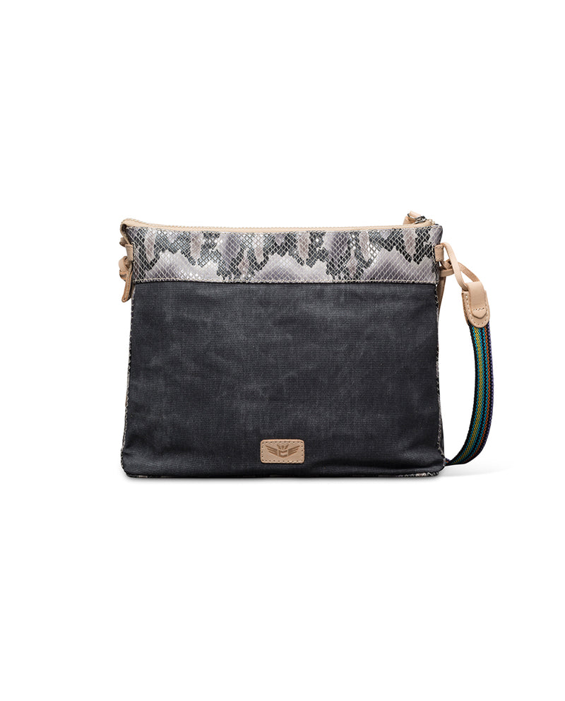 Flynn Downtown Crossbody in grey waxed canvas with snake accent by Consuela, back