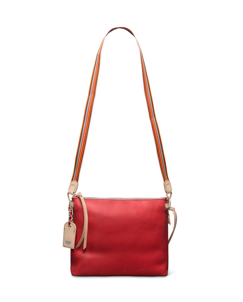 Valentina Downtown Crossbody in red pebbled leather by Consuela, with crossbody strap