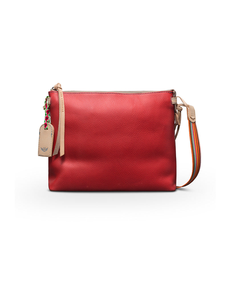 Valentina Downtown Crossbody in red pebbled leather by Consuela, front