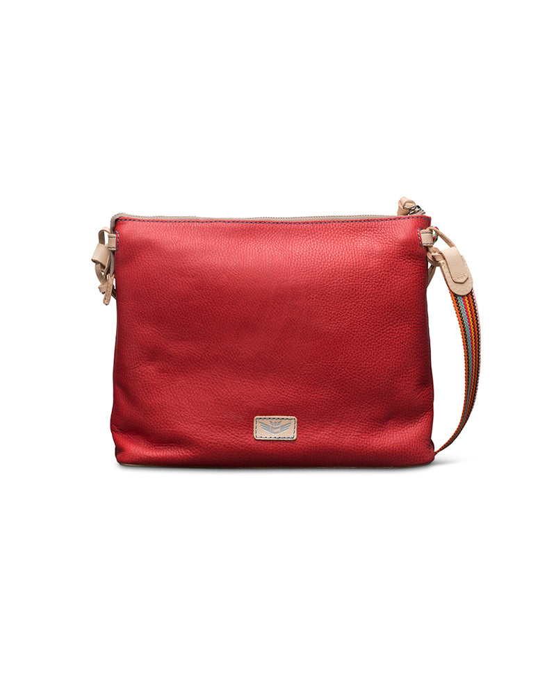Valentina Downtown Crossbody in red pebbled leather by Consuela, back