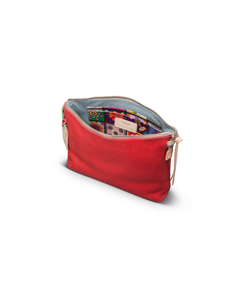 Valentina Downtown Crossbody in red pebbled leather by Consuela, interior