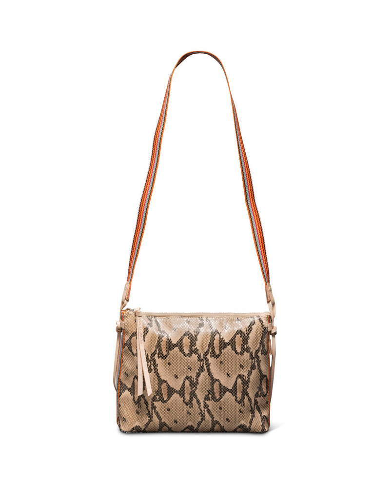 Margot Downtown Crossbody in snake print by Consuela, with crossbody strap