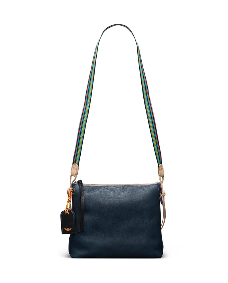 Adelita Downtown Crossbody in navy pebbled leather by Consuela, with crossbody straps