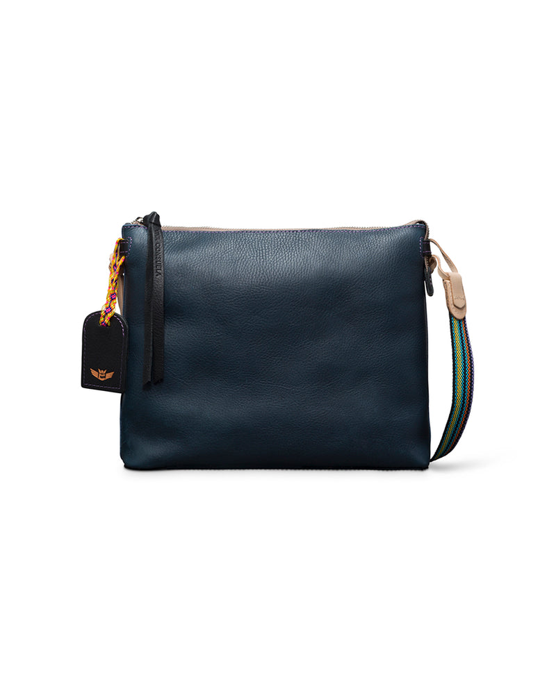 Adelita Downtown Crossbody in navy pebbled leather by Consuela, front