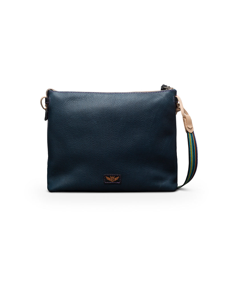 Adelita Downtown Crossbody in navy pebbled leather by Consuela, back