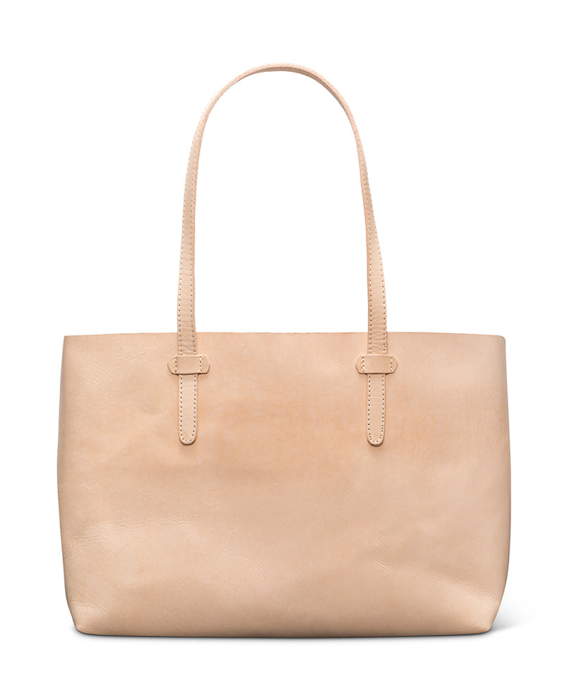 Diego Breezy East West Tote in natural, untreated leather by Consuela front view