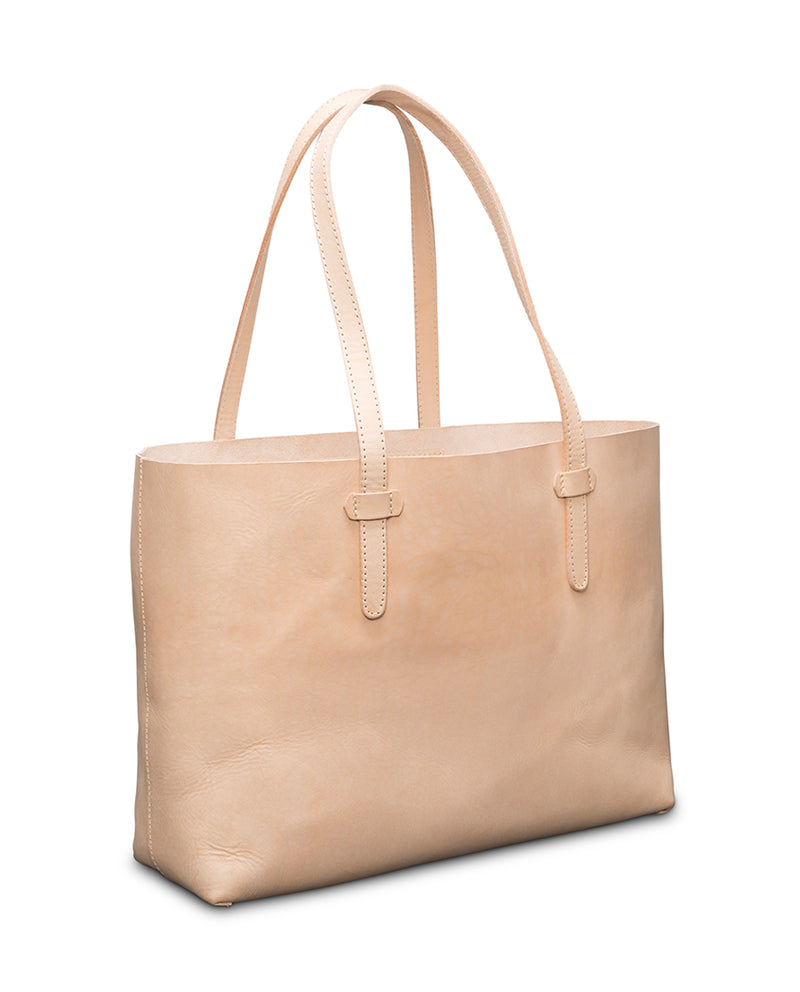 Diego Breezy East West Tote in natural, untreated leather by Consuela side view