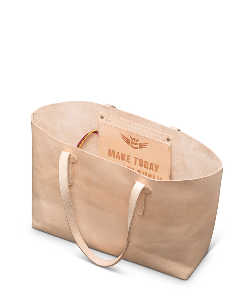 Diego Breezy East West Tote in natural, untreated leather by Consuela interior