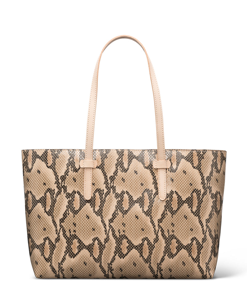 Margot Breezy East West Tote in brown snake print by Consuela, front view