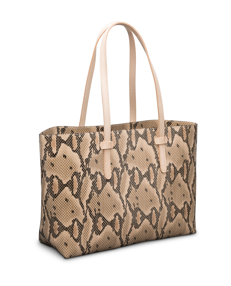 Margot Breezy East West Tote in brown snake print by Consuela, side view