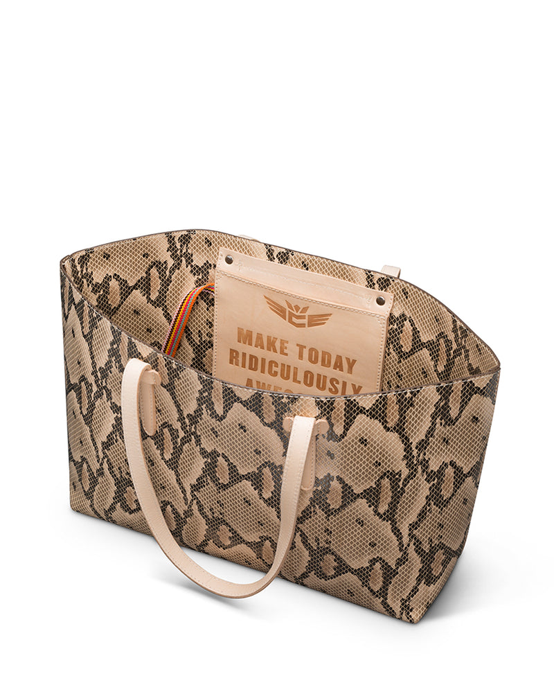 Margot Breezy East West Tote in brown snake print by Consuela, interior view