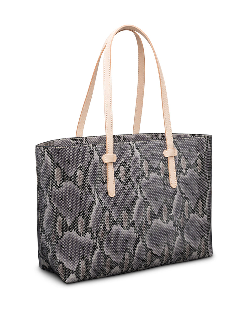 Flynn Breezy East West Tote in grey snake print by Consuela side view