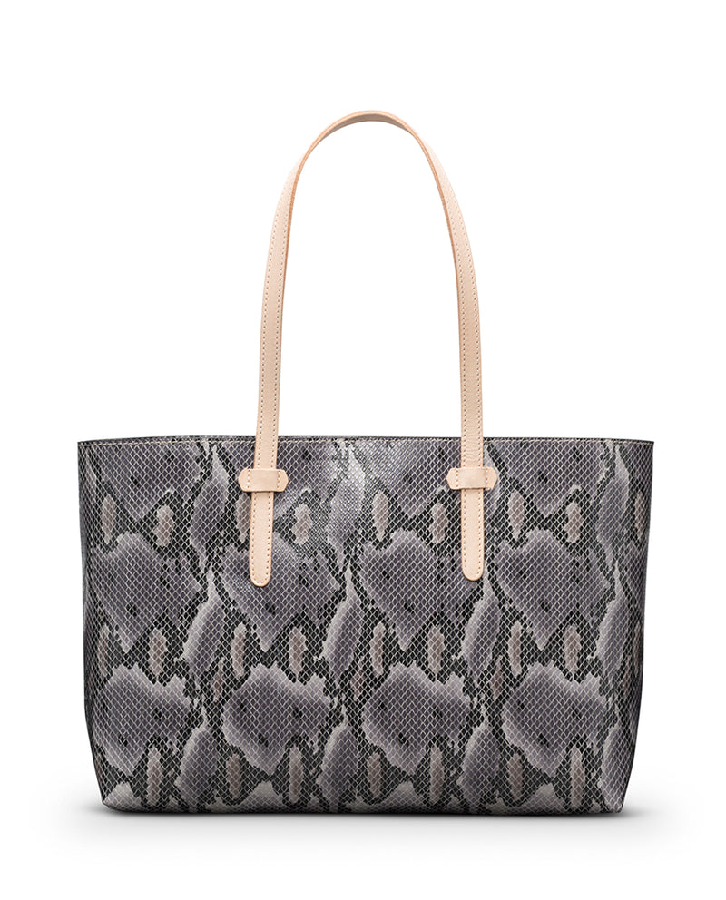 Flynn Breezy East West Tote in grey snake print by Consuela front view