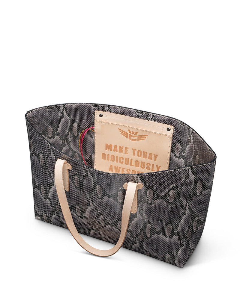 Flynn Breezy East West Tote in grey snake print by Consuela interior