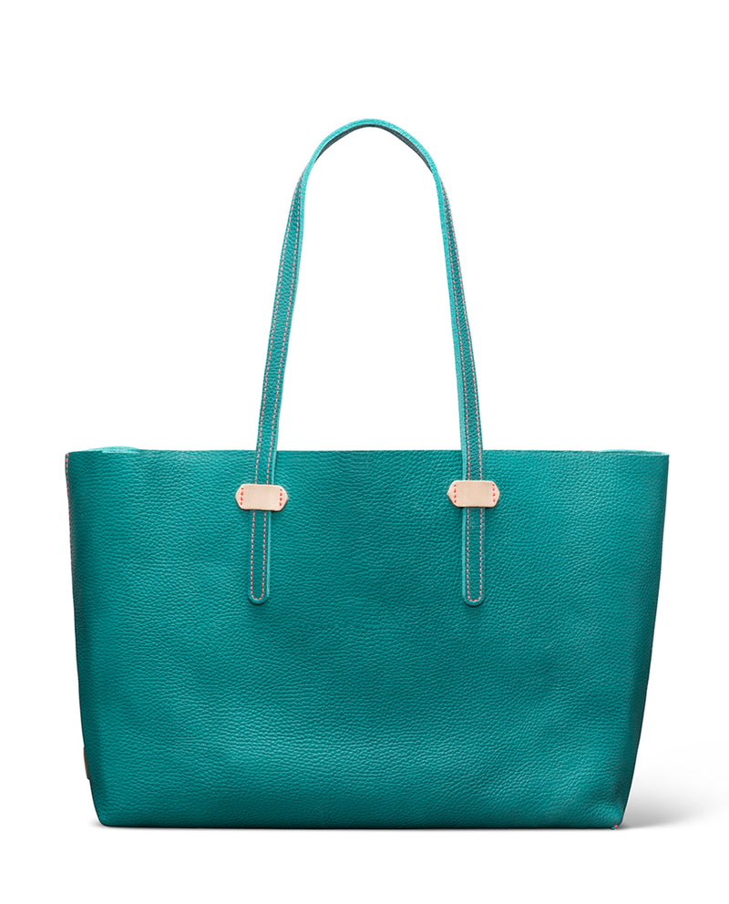 Guadalupe Breezy East West Tote in turquoise pebbled leather by Consuela front view