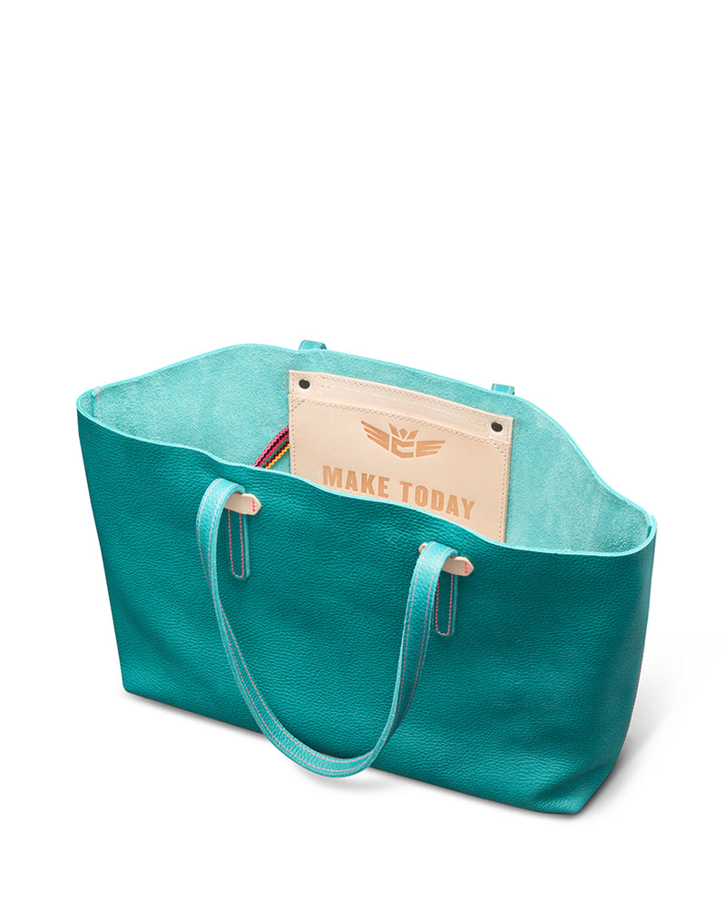 Guadalupe Breezy East West Tote in turquoise pebbled leather by Consuela interior