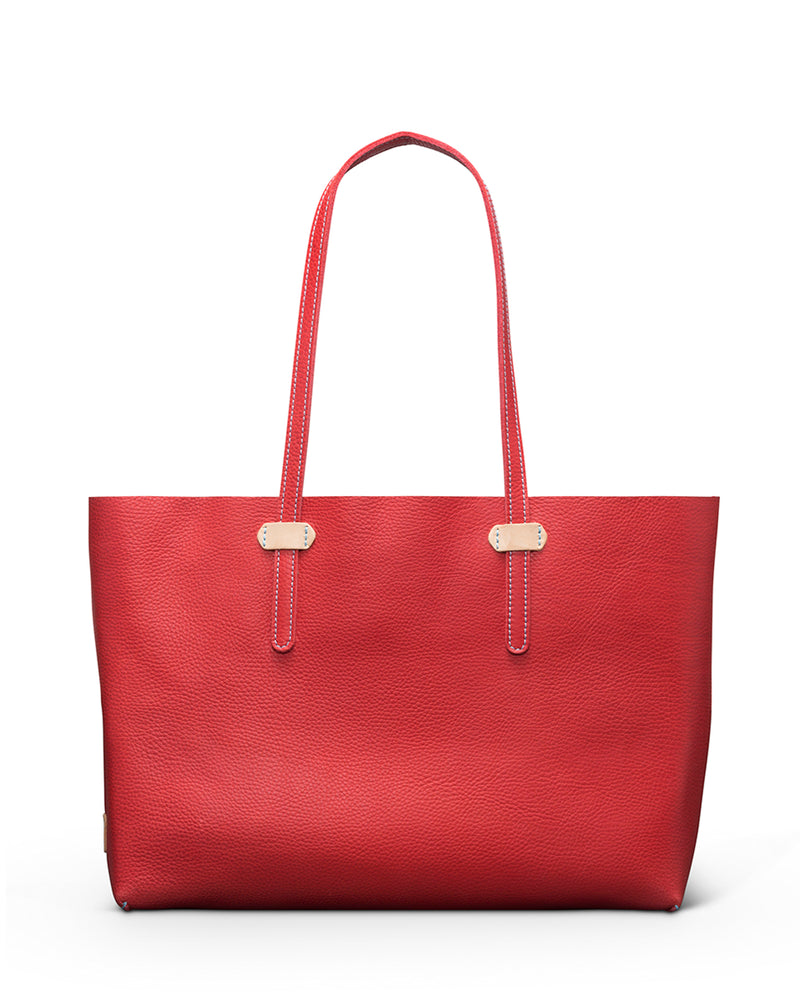 Valentina Breezy East West Tote in red pebbled leather by Consuela, front view