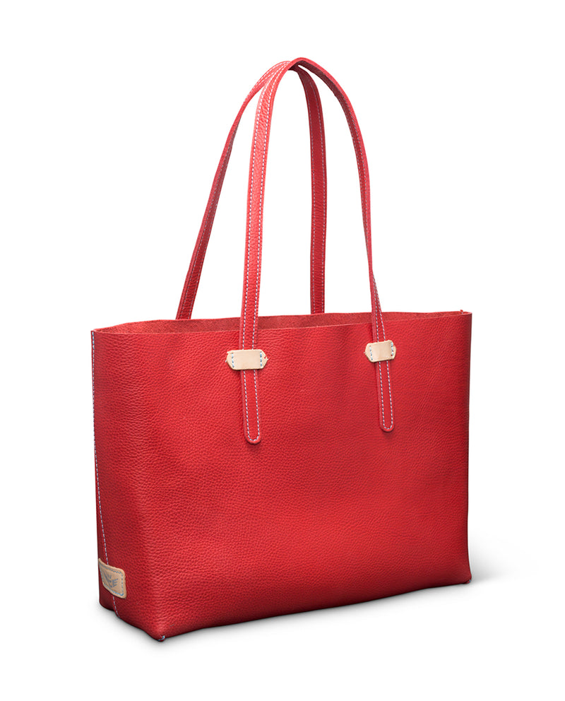 Valentina Breezy East West Tote in red pebbled leather by Consuela, side view
