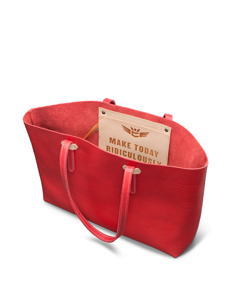 Valentina Breezy East West Tote in red pebbled leather by Consuela, interior view