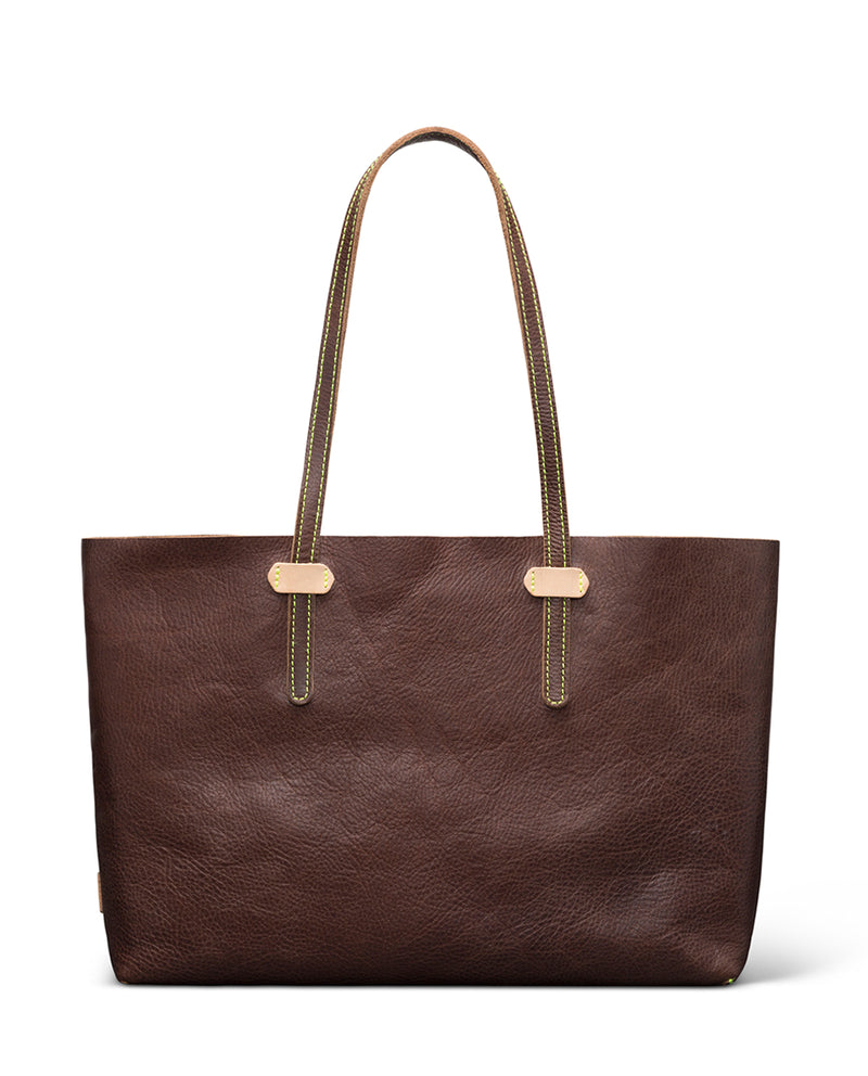 Magdalena Breezy East West Tote in brown pebbled leather by Consuela, front view