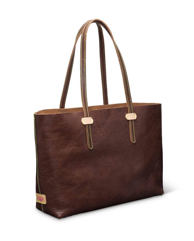 Magdalena Breezy East West Tote in brown pebbled leather by Consuela, side view