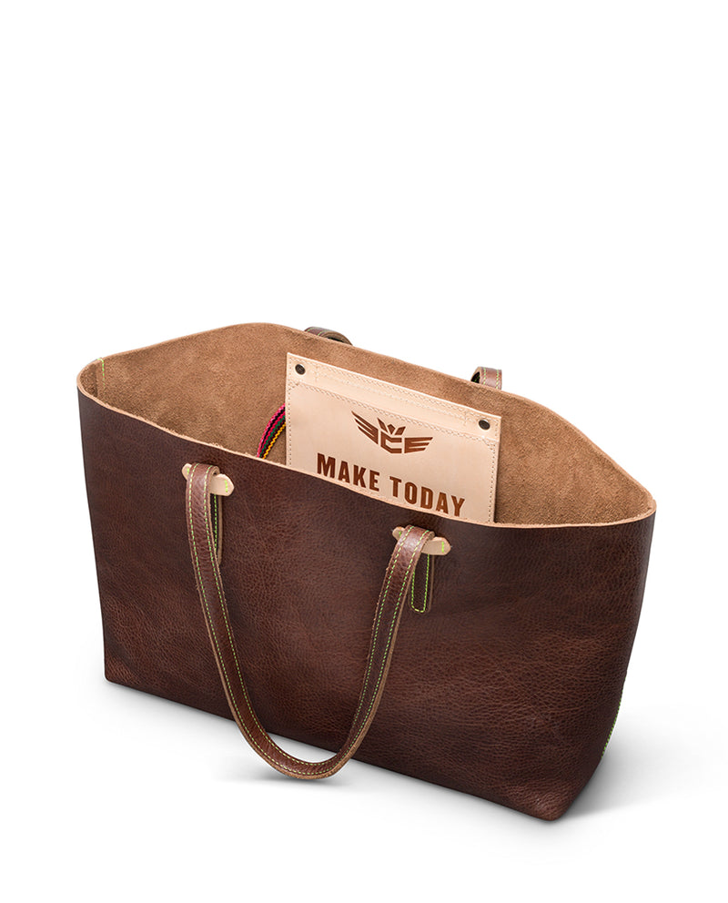 Magdalena Breezy East West Tote in brown pebbled leather by Consuela, interior view