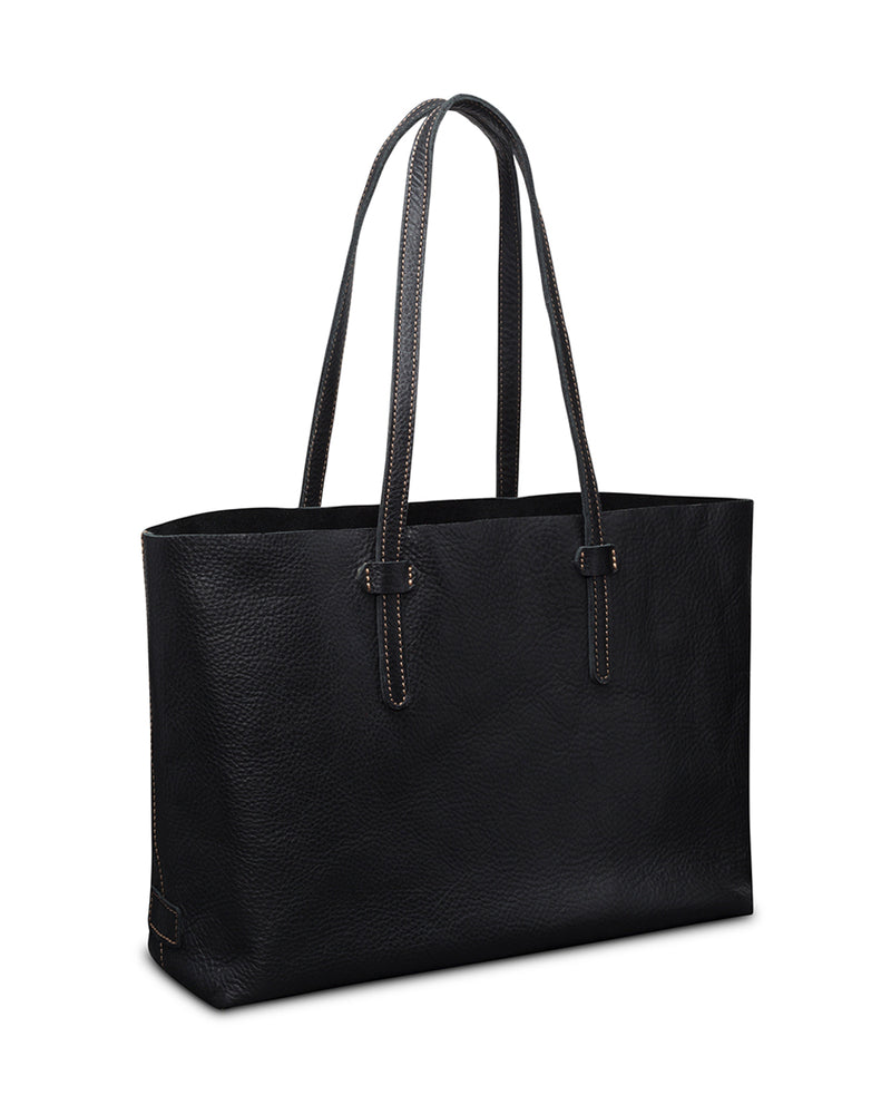 Evie Breezy East West Tote in black pebbled leather by Consuela, side view