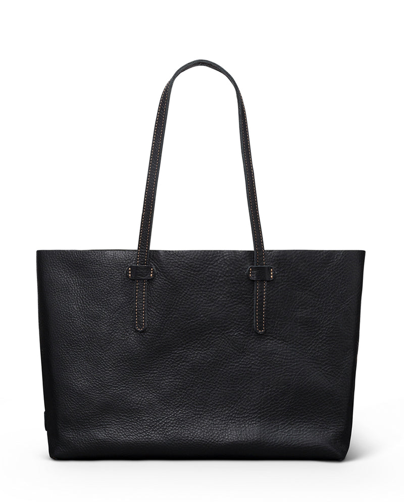 Evie Breezy East West Tote in black pebbled leather by Consuela, front view